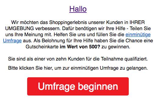 Aldi Spam Mail Gutschein 500 Euro
