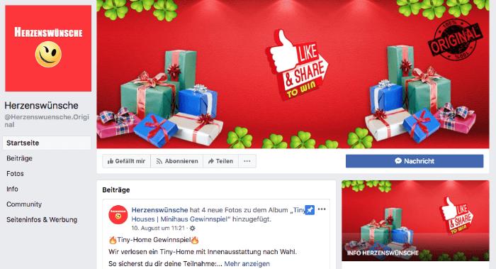 Facebook Fake Seite Herzenswuensche Gewinnspiele