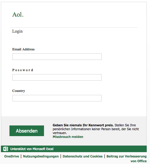 Fake-Login-Formular im Namen von AOL