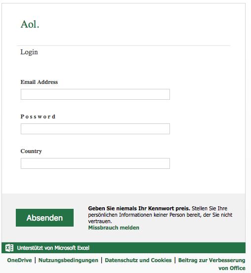 Fake-Login-Formular im Namen von AOL