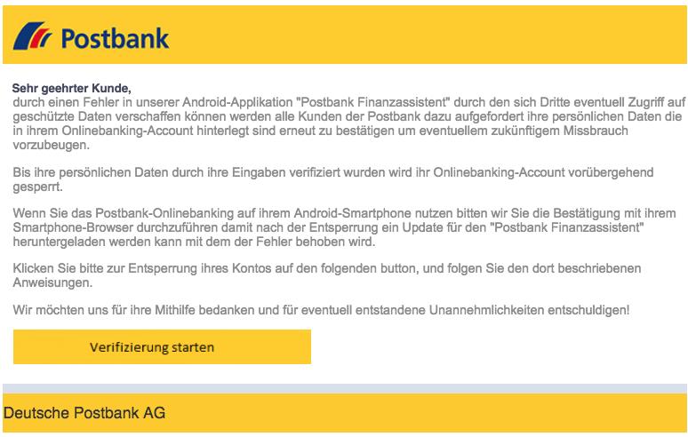 2018-09-10 Postbank Spam Mail Android-App Neue Nachricht