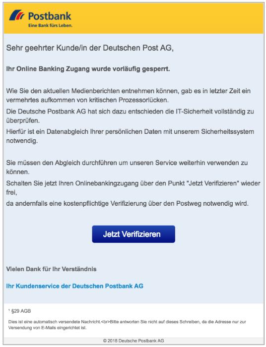 2018-09-10 Postbank Spam Mails Deutsche Post AG Ihr Online Banking Zugang wurde vorläufig gesperrt