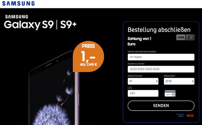 2018-09-12 Fake Samsung Webseite S9 1 Euro Kostenfalle