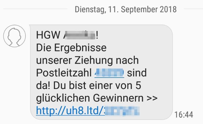 2018-09-13 SMS im Namen Mediamarkt Fake Gewinn
