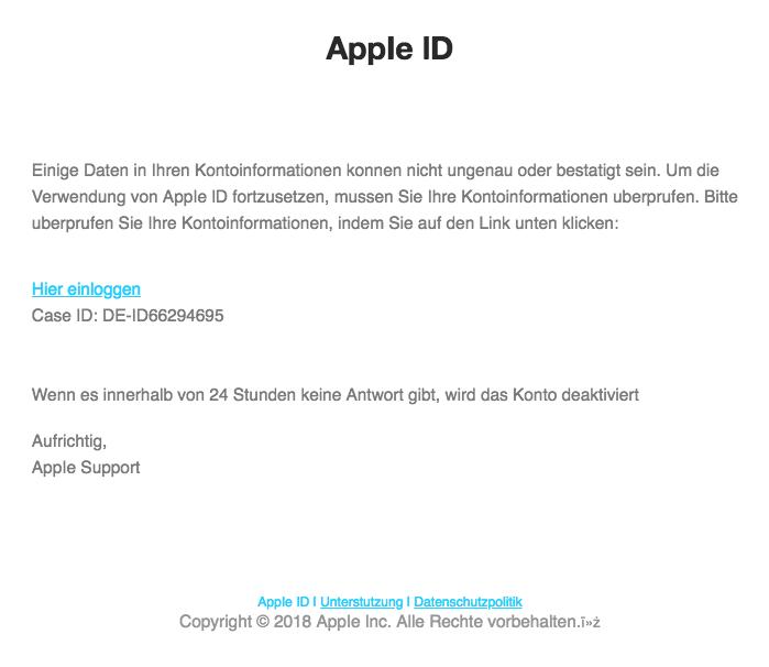 2018-09-17 Apple Spam Mail Apple ID Mahnung Handlungsbedarf
