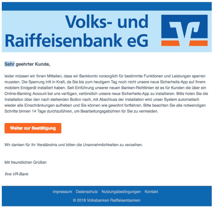 2018-09-17 Volksbank Spam-Mail Kundenmitteilung