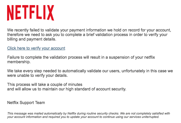 2018-09-21 Netflix Fake-Mail Your Netflix Membership is on hold