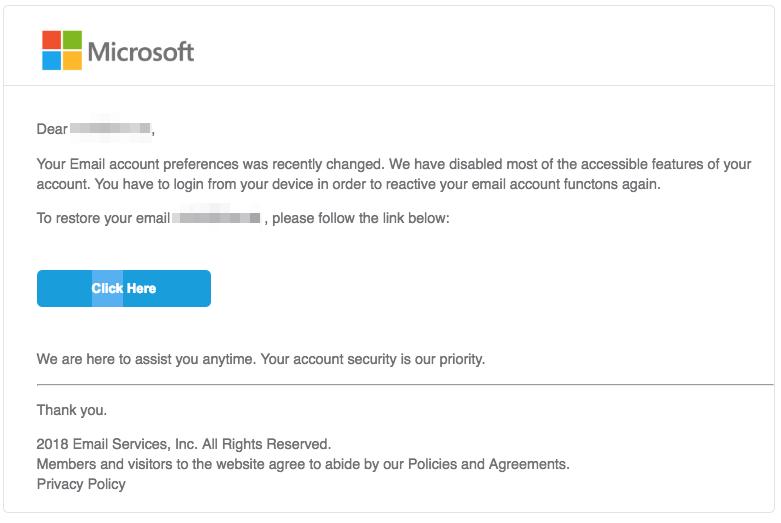 2018-09-24 Microsoft Spam Mail Microsoft account settings