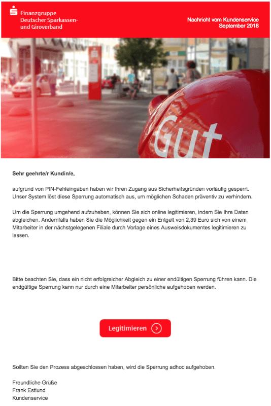 2018-09-24 Sparkasse Verband Spam-Mail Fake Mehrfache Falscheingabe der PIN - Online Zugang gesperrt