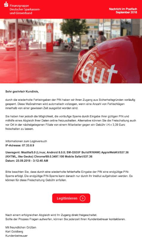 2018-09-25 Sparkasse Giroverband Fake-Mail Zugang gesperrt - Fehlgeschlagener Anmeldeversuch