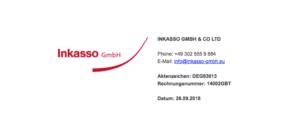 2018-09-26 E-Mail Spam von INKASSO GMBH und CO LTD