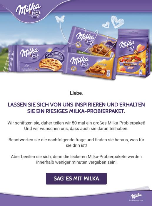 2018-10-01 E-Mail mit Werbung Milka Probierpaket