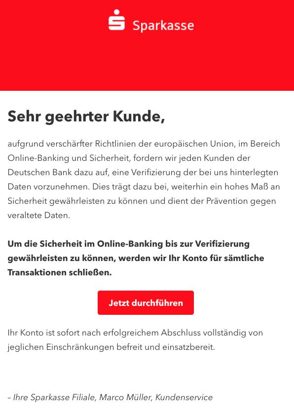 2018-10-01 Sparkasse Fake Ihr Sparkassen Konto wird deaktiviert