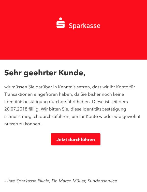 2018-10-01 Sparkasse Fake Mail Ihr Konto wurde eingefroren