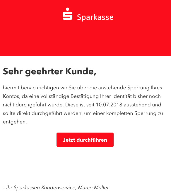 2018-10-01 Sparkasse Spam Ihr Konto wurde eingefroren