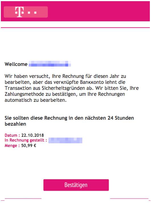 2018-10-23 Telekom Spam Mail Rechnung für die