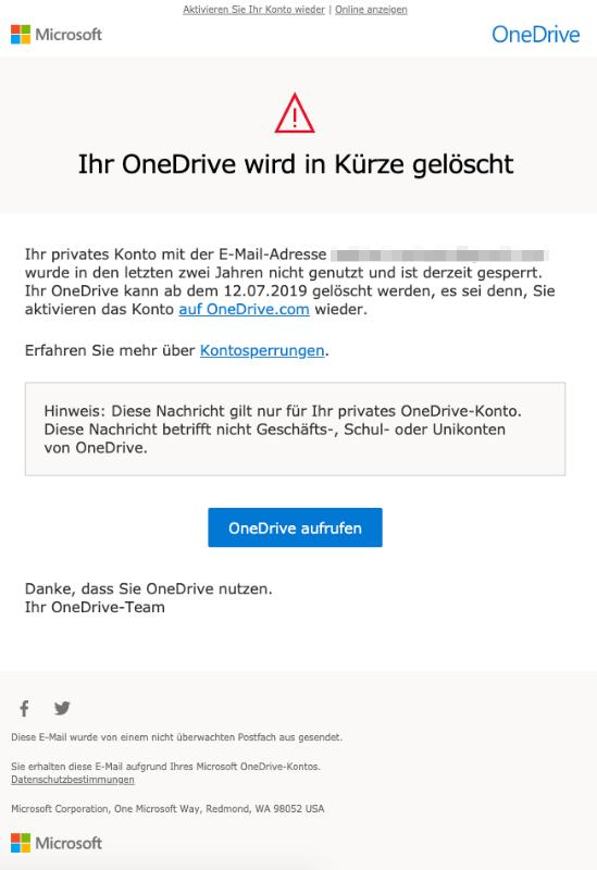 2019-06-11 Microsoft OneDrive E-Mail Spam Ihr OneDrive wird in Kürze gelöscht