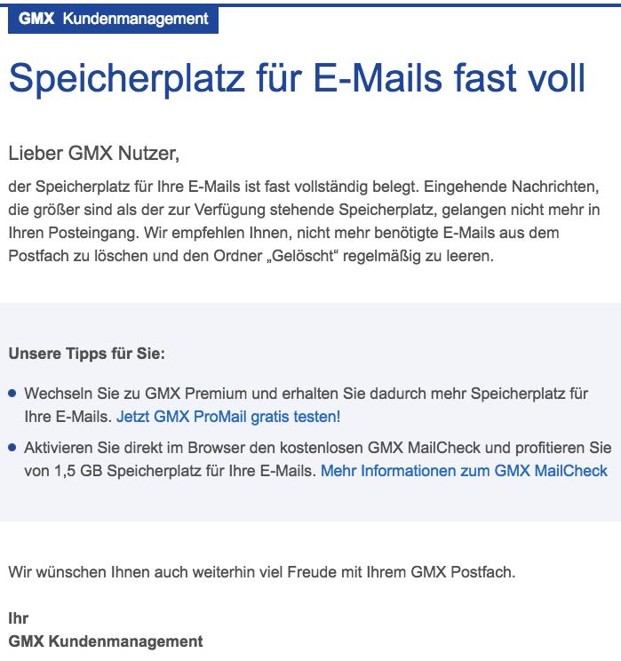 GMX Mail Speicherplatz fuer E-Mails fast voll