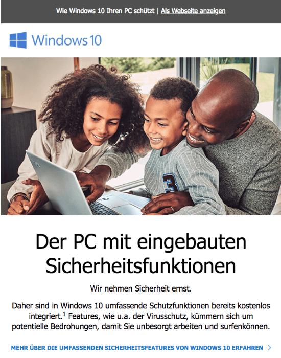 Microsoft Mail Die Sicherheit Ihres PCs ist unsere Priorität