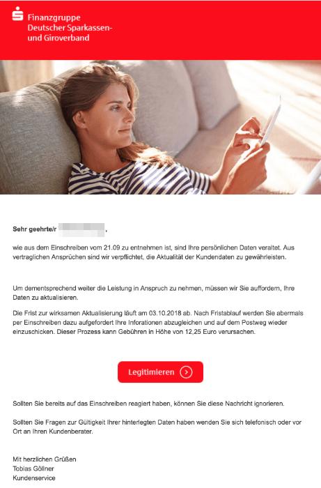 2018-10-02 Sparkasse Fake-Mail Keine Reaktion auf das Einschreiben