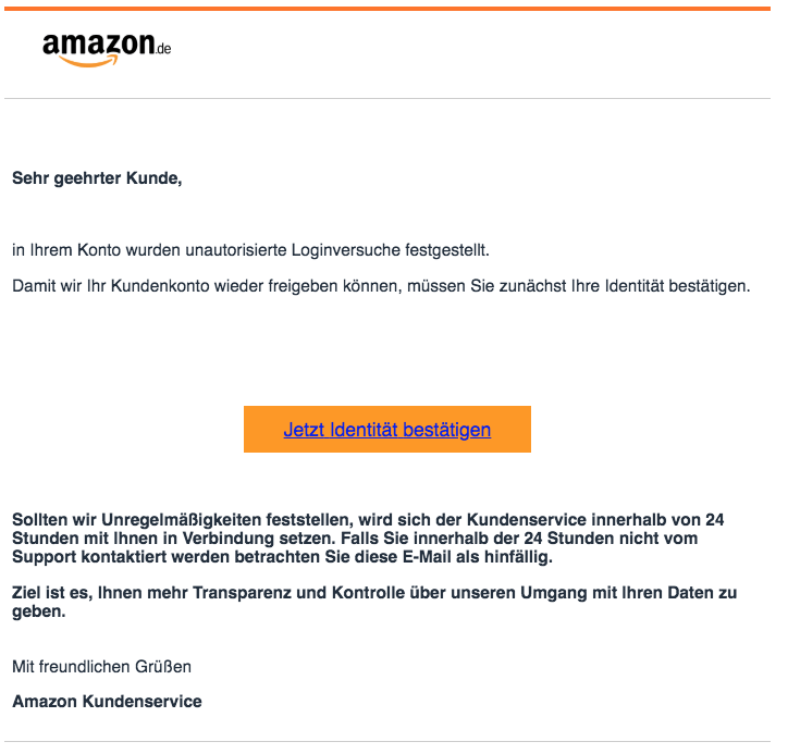 2018-10-04 Amazon Fake-Mail Kundeninformation- unautorisierte Loginversuche