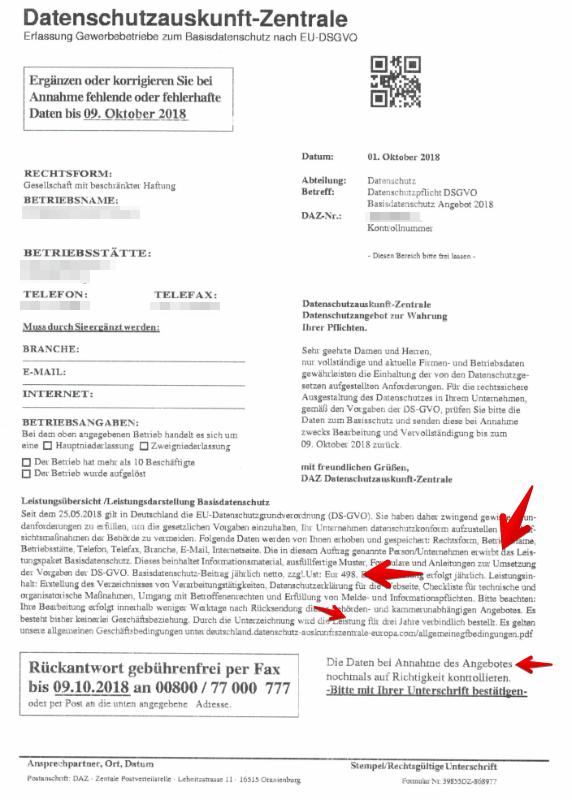 2018-10-04 Fake-Fax Datenschutzauskunft-Zentrale Antwortfax