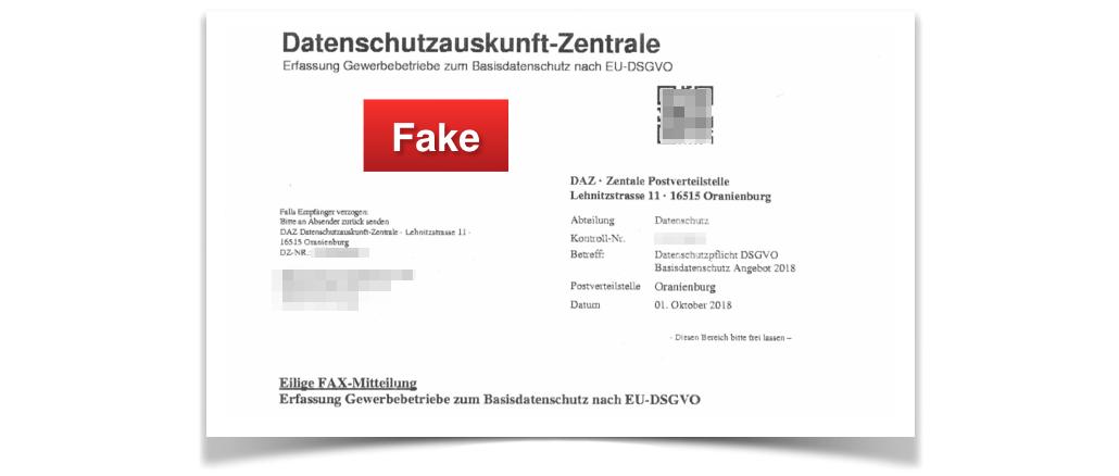 2018-10-04 Fake-Fax Datenschutzauskunft-Zentrale
