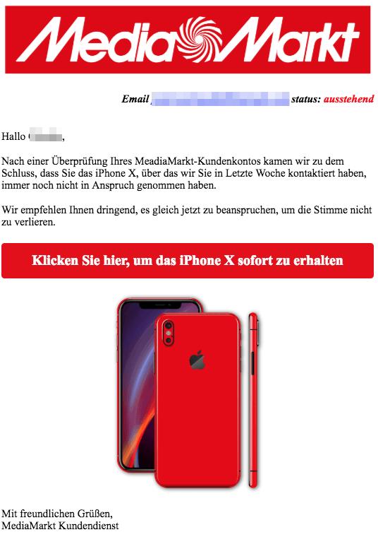 2018-10-04 Media Markt E-Mail Spam Ich rief Du hast nicht geantwortet