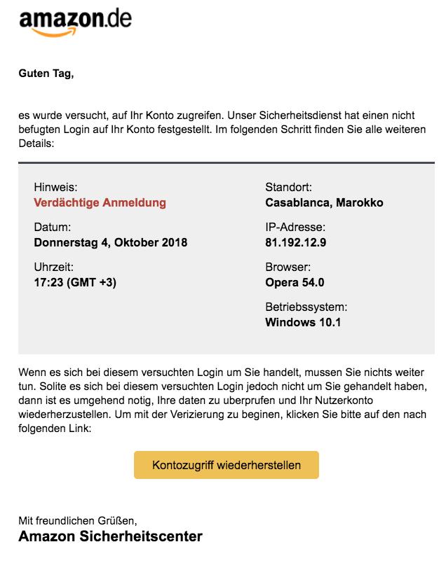 2018-10-05 Amazon Fake-Mail Verdächtiger Anmeldung
