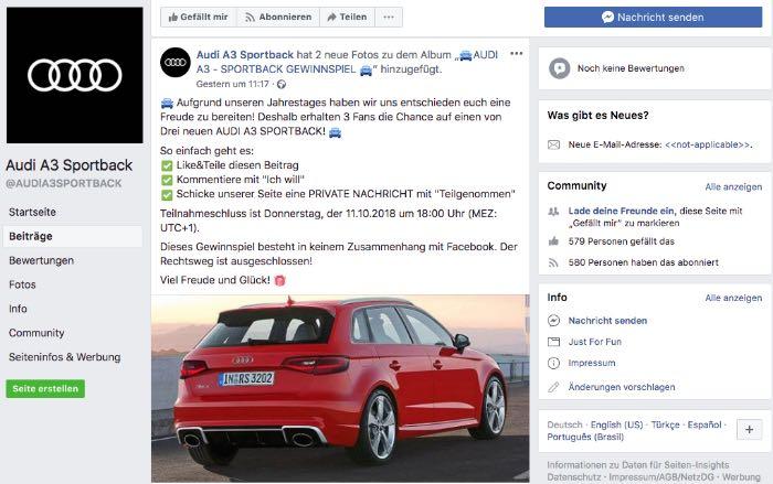 2018-10-08 Fake Seite Facebook Audi A3 Sportback verlost Audi A3