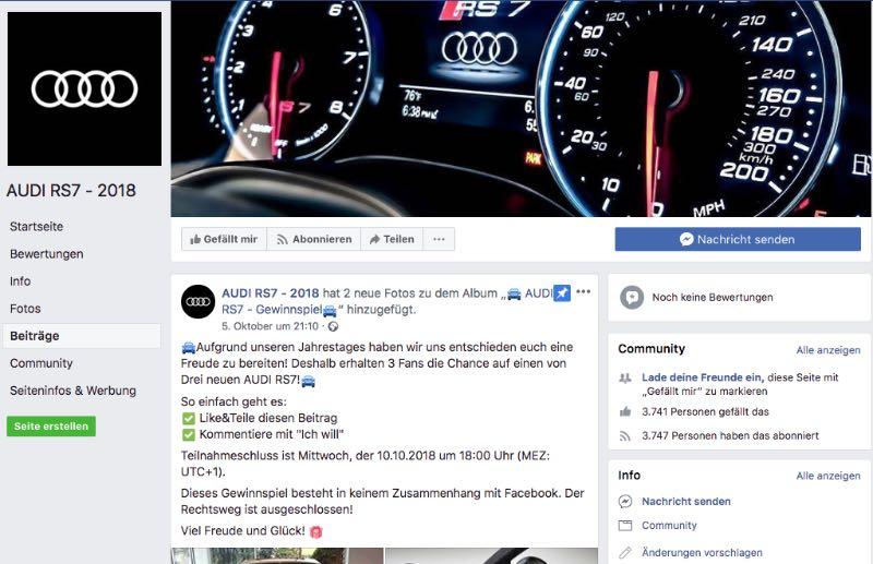2018-10-08 Fake-Seite Facebook Audi RS 7 2018 verlost keinen Audi