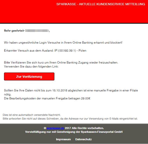 Sparkasse Spam Aktuell E Mail Kundeninformation Ist Datendiebstahl