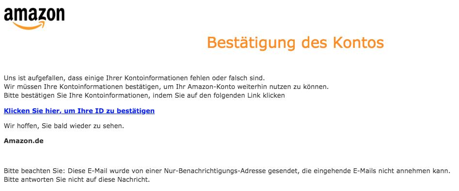 2018-10-12 Amazon Spam Mail Ihre Amazon-Mitgliedschaft wurde gesperrt