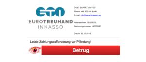 2018-10-12 Mahnung Zahlungsaufforderung Pfändung DEBT EXPERT LIMITED