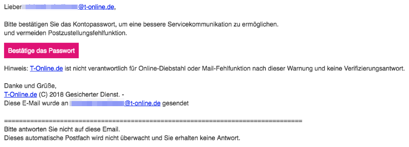 2018-10-16 Telekom T-Online Spam Mail Achtung- E-Mail-Kontoinhaber