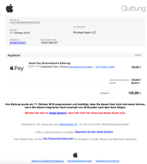 2018-10-18 Apple Spam Mail Apple Pay Automatische Zahlung