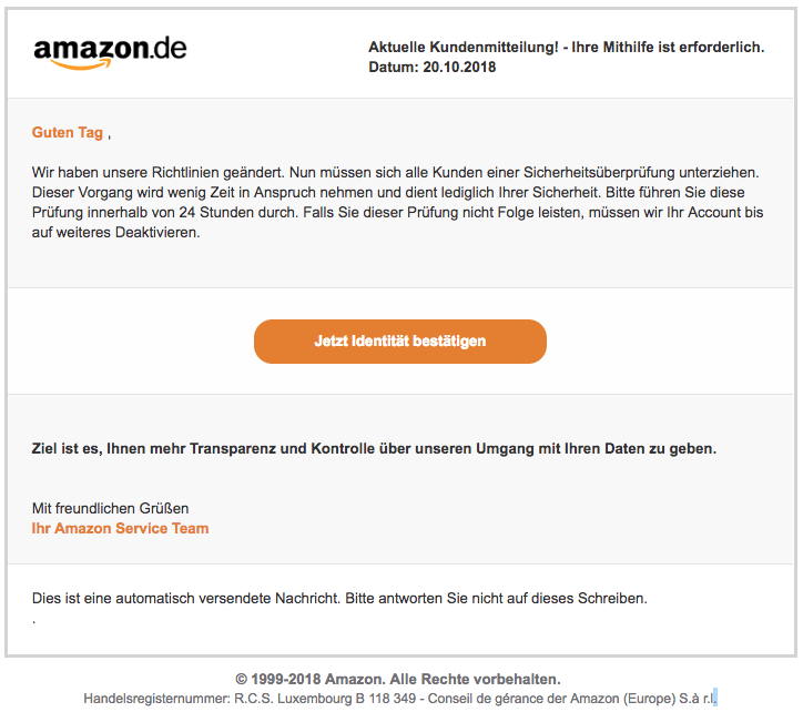 2018-10-22 Amazon Phishing Mail Dringende Nachricht an den Kunden