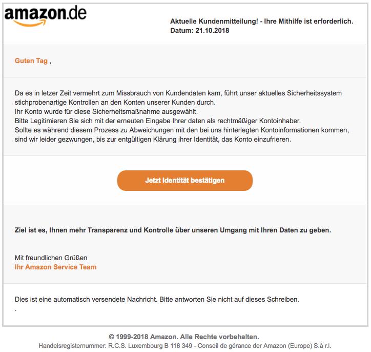 2018-10-22 Amazon Spam Mail Benachrichtigungsdienst Kunden