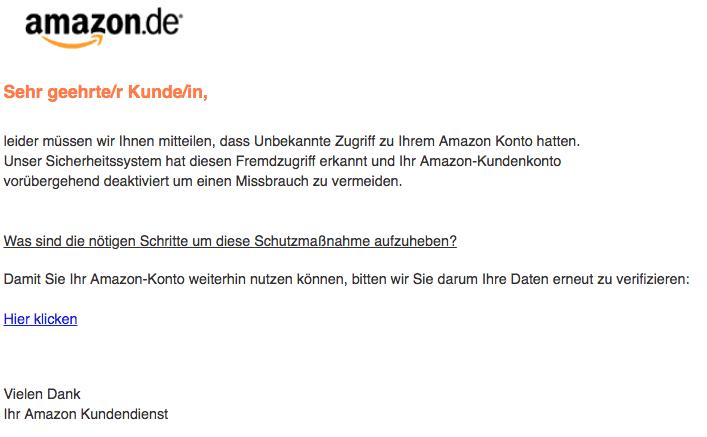 2018-10-23 Amazon Phishing Ihr Kundenkonto ist gesperrt
