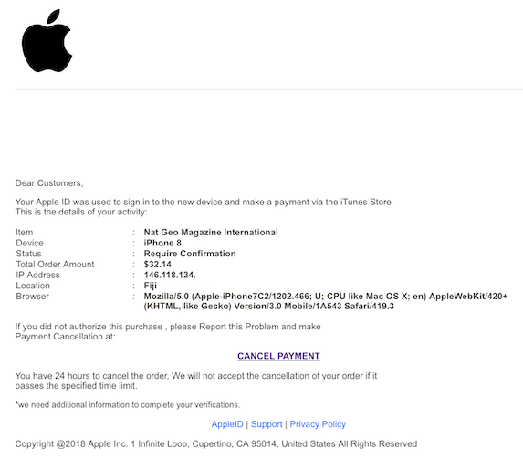 2018-10-23 Apple Phishing