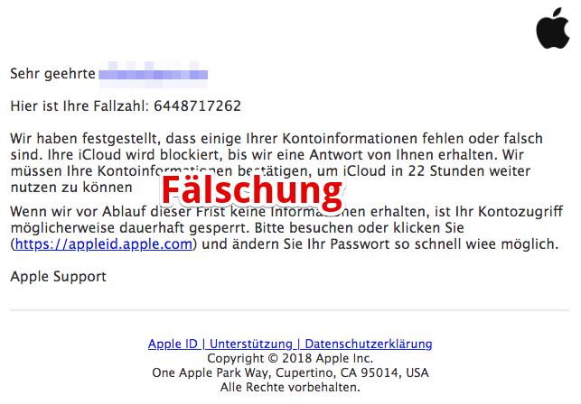 2018-10-24 Apple ID Spam Mail Konto Aktivitäten
