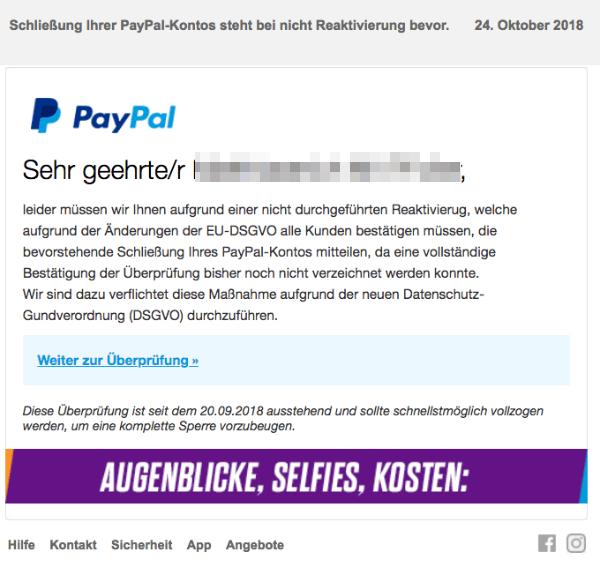 2018-10-25 Spam-Mail PayPal Schließung Ihrer PayPal-Kontos