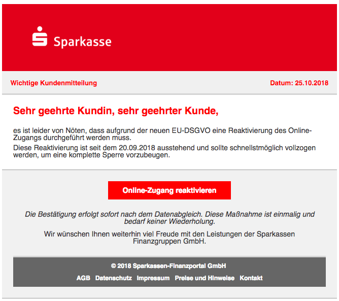 2018-10-25 Sparkasse Spam Online-Zugangs Informationen
