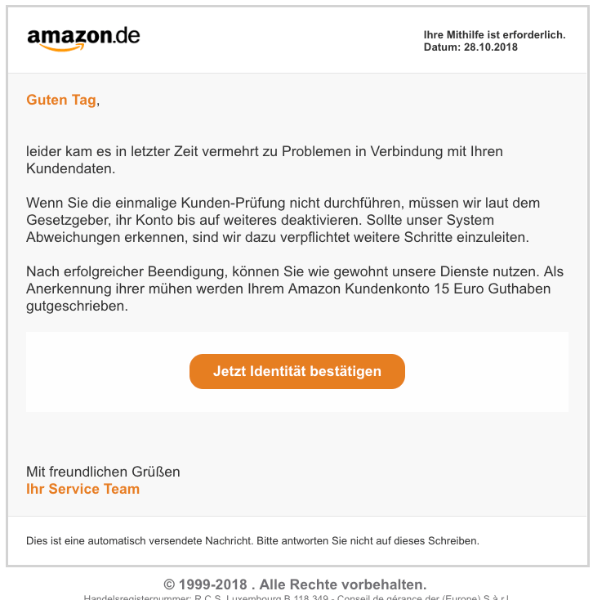 2018-10-29 Amazon Fake-Mail Spam Mögliche Konto Sperrung