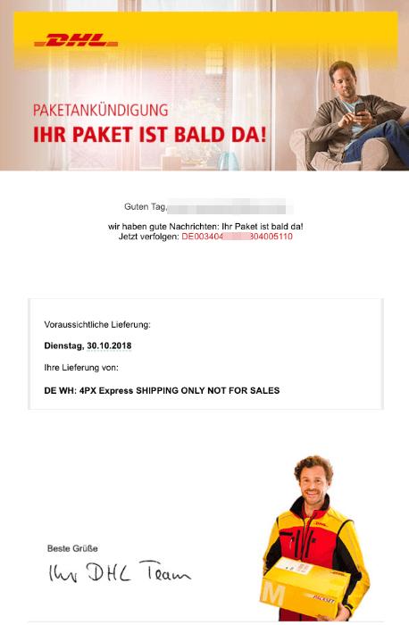 2018-10-29 DHL Phishing-Mail Ihr Paket ist bald da