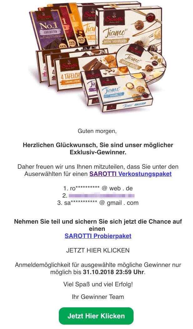 2018-10-29 E-Mail Spam Sarotti Verkostungspaket