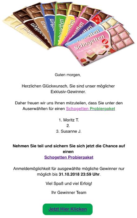 2018-10-29 Schogetten Probierpaket Spam-Mail