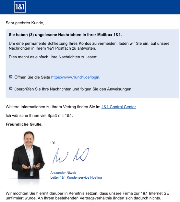 2018-10-30 1und1 Spam Mail wichtig