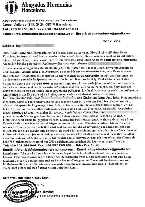 2018-11-01 Fake-Fax von Ariana Marquez Ambel, Abogados Herencias Barcelona