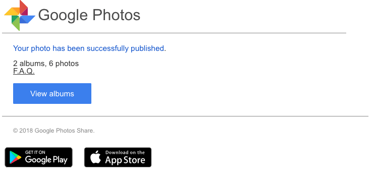 2018-11-01 Google Photos Fake-Mail Spam Your photo has been successfully published